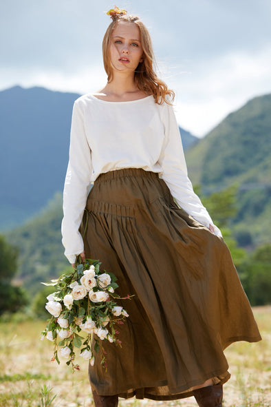 brown pleated maxi linen skirt | Linennaive®