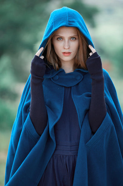 blue wool cape cloak hooded poncho