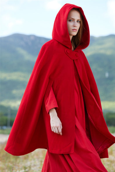 Red Hooded Cloak Cape Winter Coat