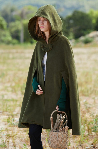 green wool cape cloak hooded poncho