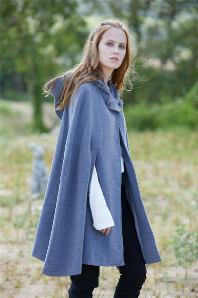 gray wool cape hoode cloak 6 colors