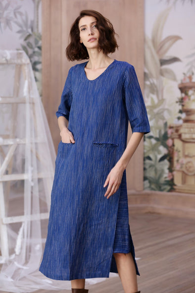 blue striped linen dress| Linennaive®