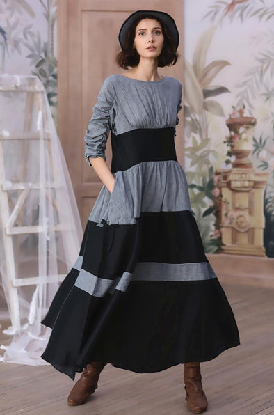 Black Gray Linen Dress Maxi Dress| Linennaive®