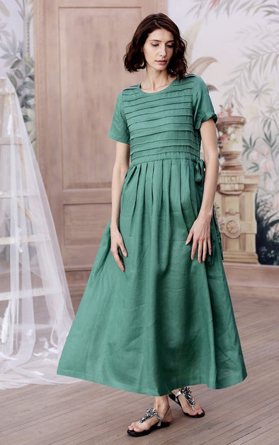 layered emerald green linen dress | Linennaive®