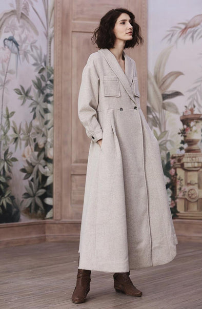 Maxi Wool Coat in Oat | Linennaive®
