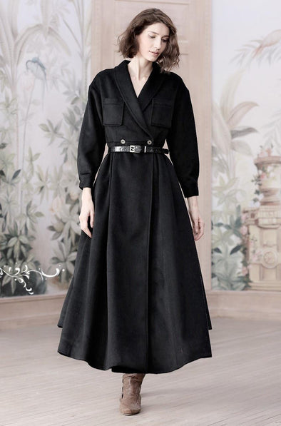 Black Cashmere Coat Jacket Wool Coat | Linennaive®