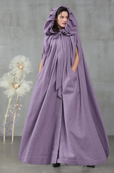 maxi hooded cape, wool cape in violet | Linennaive®