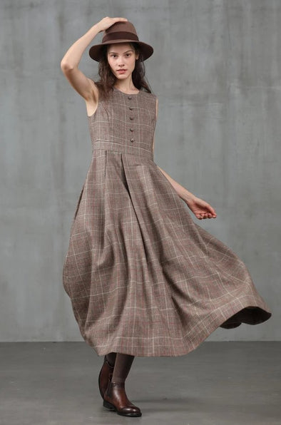 check wool dress retro dress | Linennaive