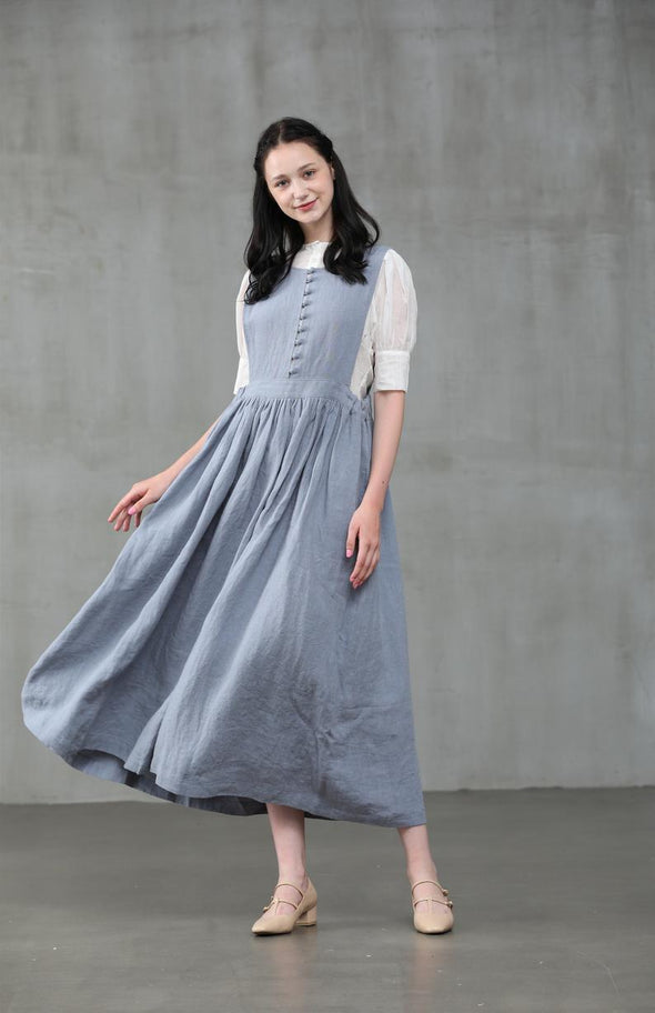 Rosemary 19 | apron linen dress in misty blue