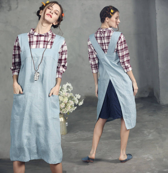 Final Sale 【All sizes stil available】linen apron, Linen Pinafore Apron, square Cross Linen Apron, aprons