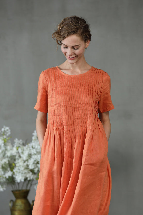 linen dress, maxi dress, orange dress, pintuck dress,  summer dress, bridal dress, wedding dress, cocktail dress | Linennaive