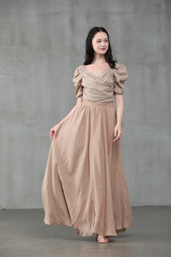 maxi linen skirt, nude skirt, natural linen skirt, wedding skirt, bridal skirt, full skirt, long skirt | Linennaive