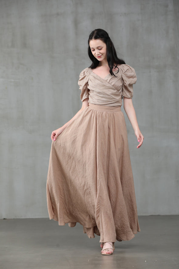 nude linen skirt, maxi skirt, natural linen skirt, wedding skirt, bridal skirt, full skirt, long skirt | Linennaive