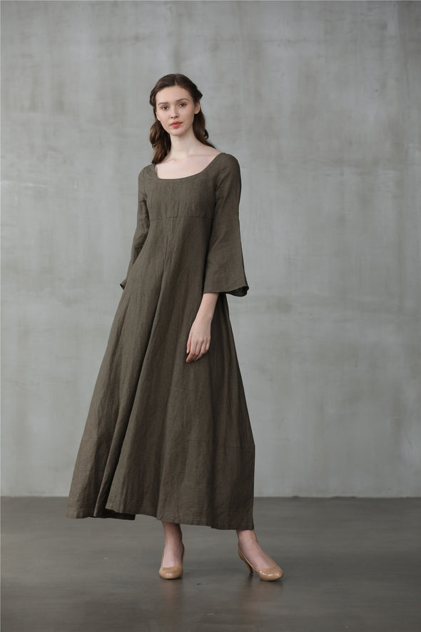 Lisianthus 14 | Empire Waist Linen Dress