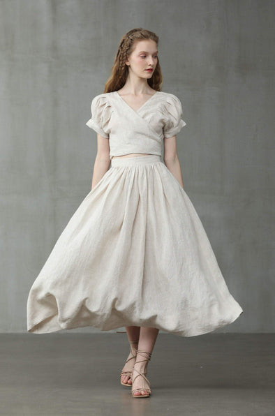 Daisy 03 | Flared Linen Skirt