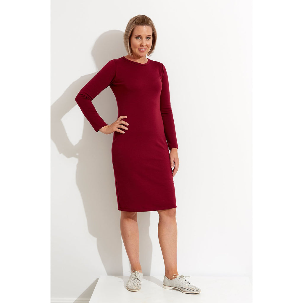 Woolerina Crew Neck Dress - Burgundy