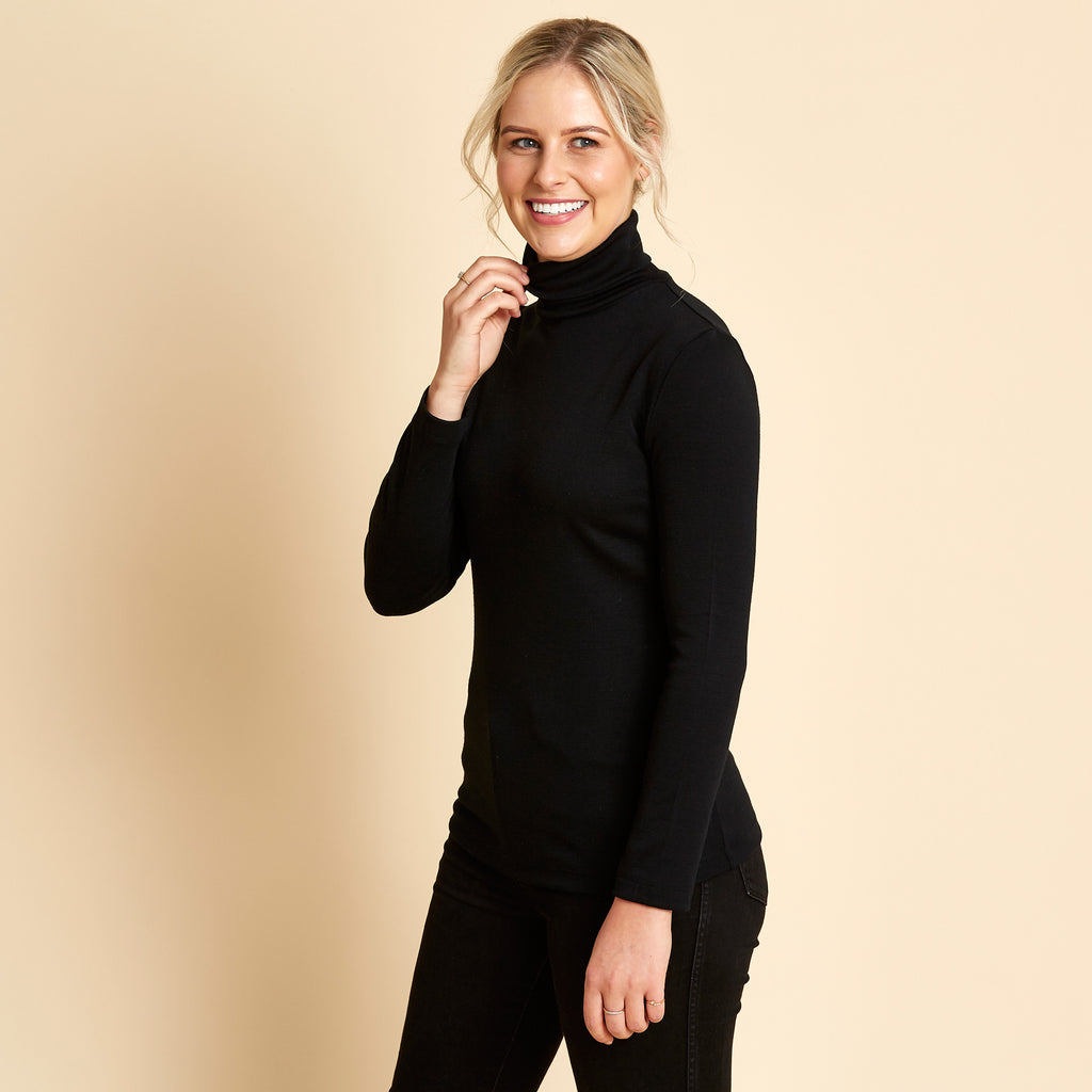 Woolerina Merino Turtleneck - Black