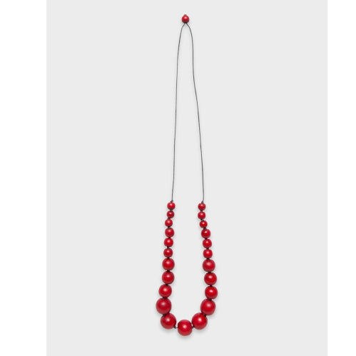 Elk Simple Bead Necklace - Red