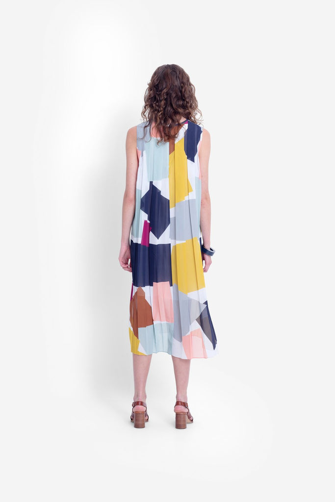 Elk Collage Pleated Dress