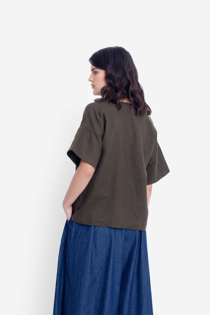 Elk Hallvi Top - Dusty Olive