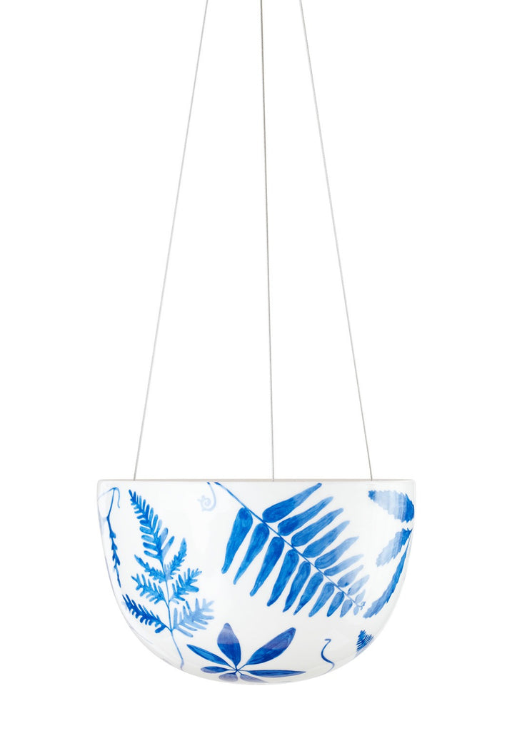Angus & Celeste Hanging Planter - Large Blue Botanical