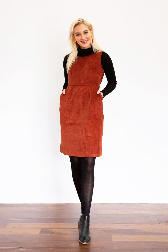 Frock Me Out Pocket Dress - Rust Corduroy