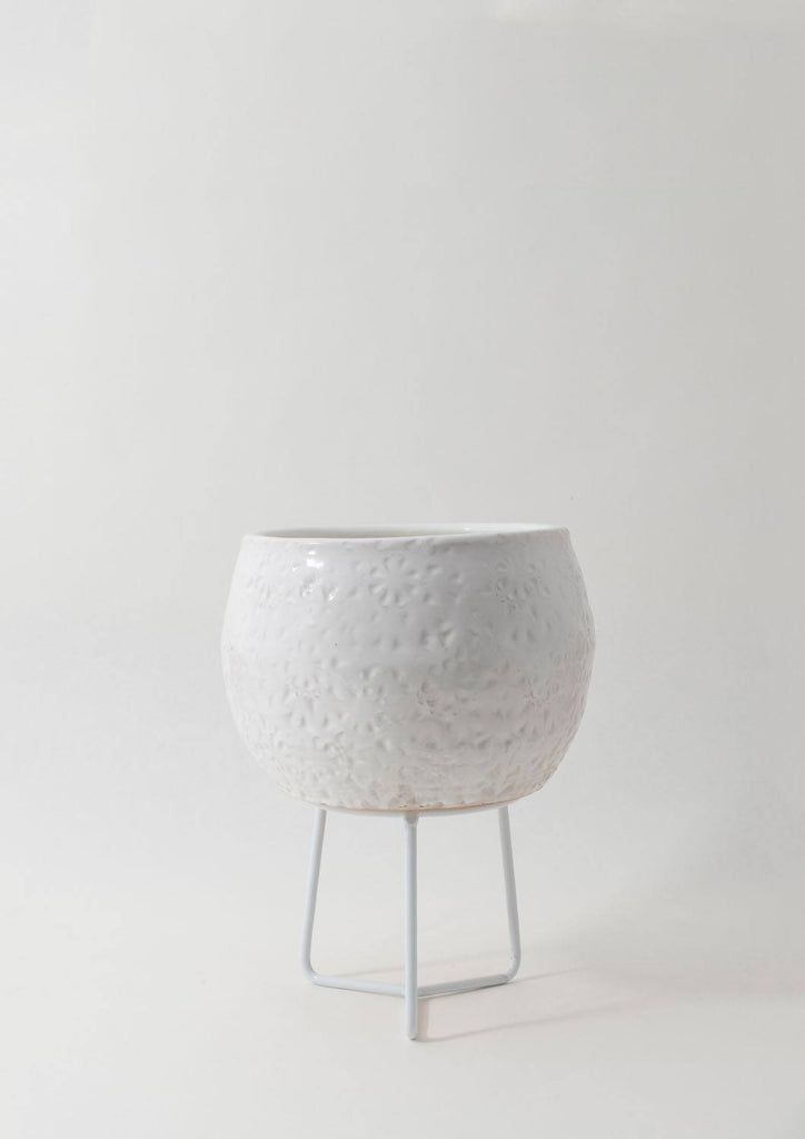 Angus & Celeste Boulder Pot - Small White