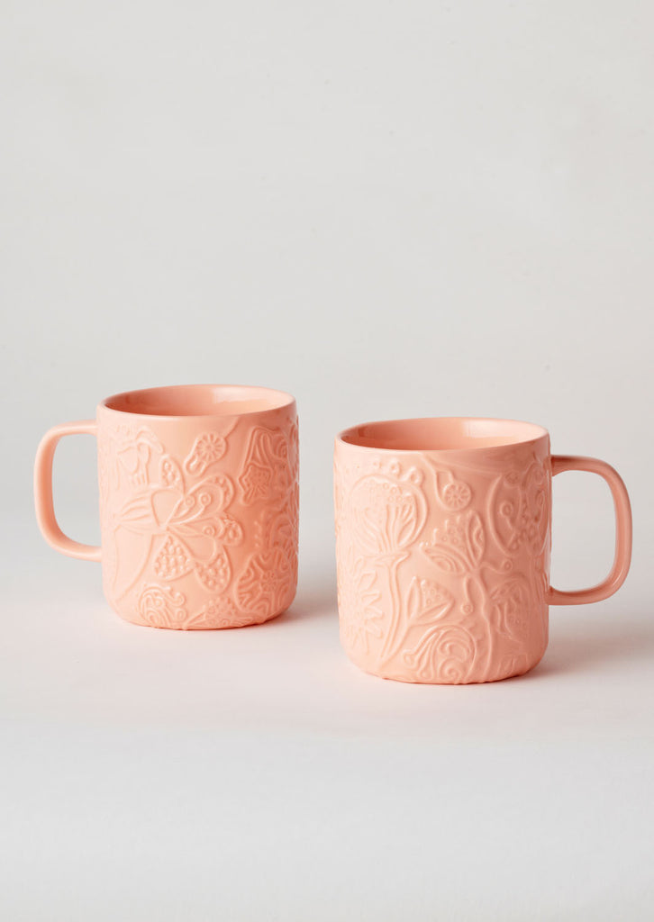 Angus & Celeste Imaginary Botanical Mug Set - Coral