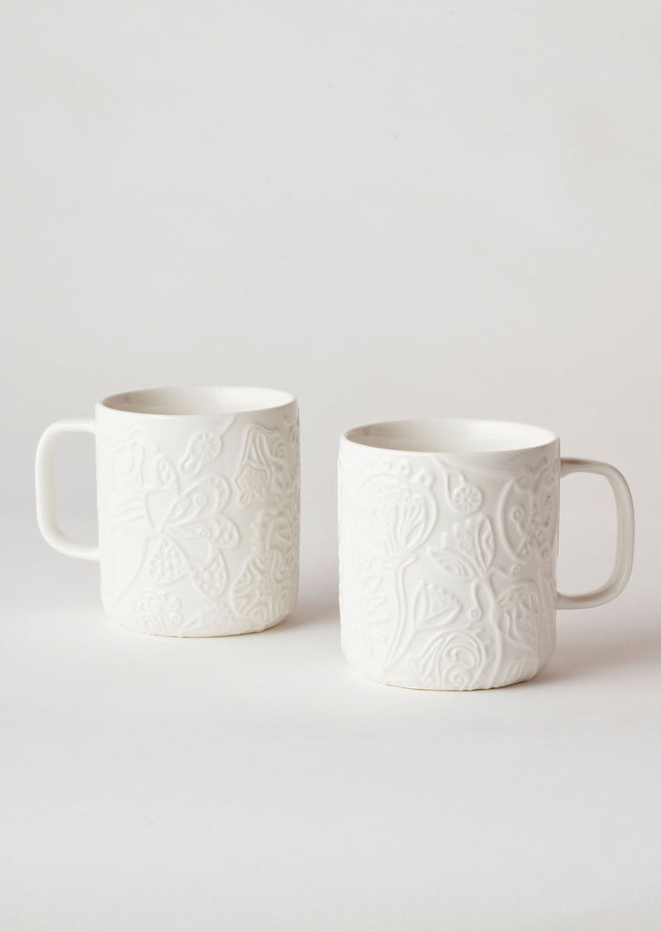 Angus & Celeste Imaginary Botanical Mug Set - White