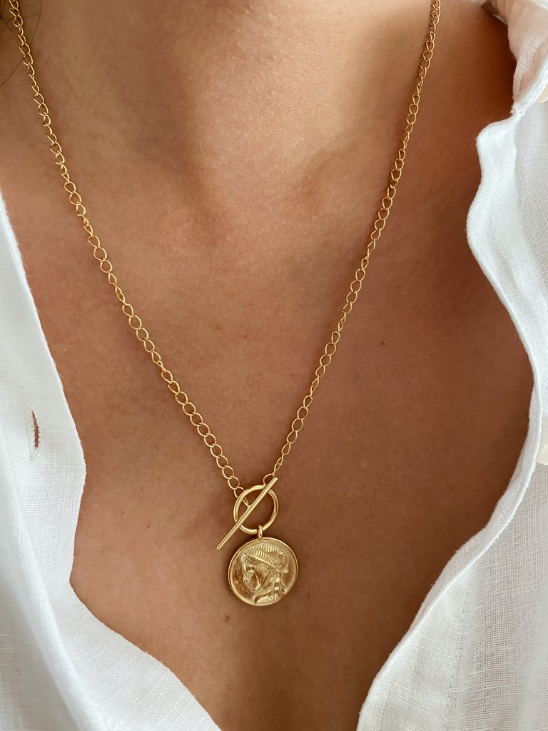 Kitsense Roman Love Coin Necklace