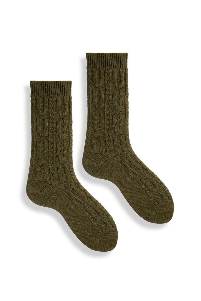 Lisa B Wool Cashmere Crew Socks - Cable