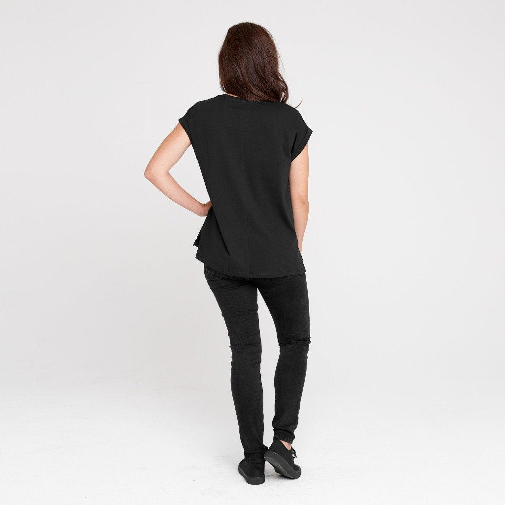 Dorsu Rolled Sleeve Tee - Black