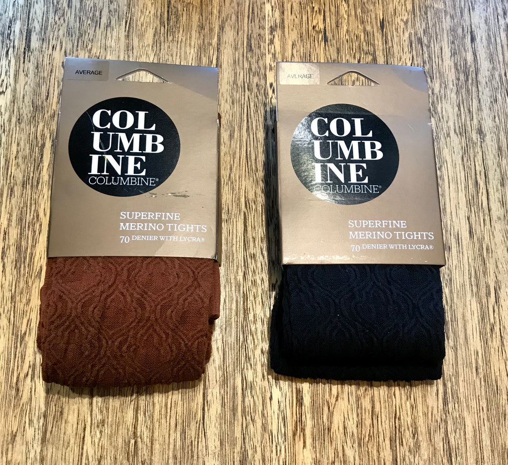 Columbine Baroque Merino Tights - Rust