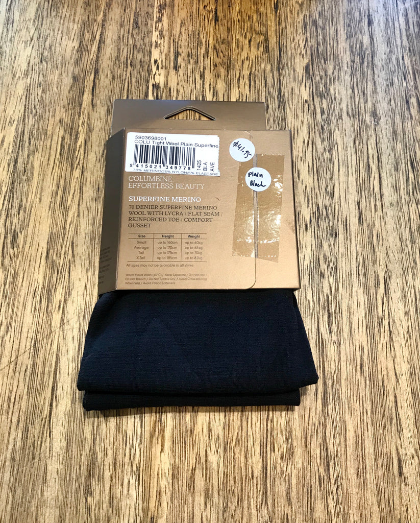 Columbine Plain Merino Tights - Black