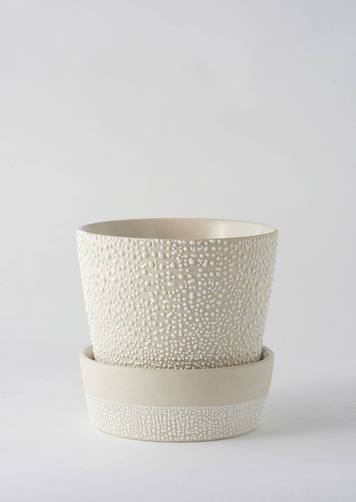Angus & Celeste White-Water Bead Planter Pot