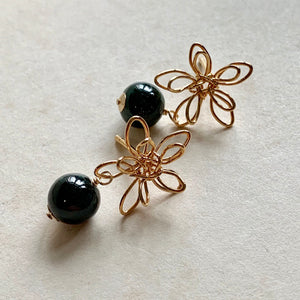 Wire Flowers & Dark Green Jade Studs