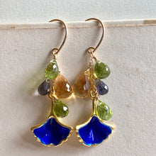Load image into Gallery viewer, Cloisonne Gingko Leaves & Gemstones Gold Filled Earrings