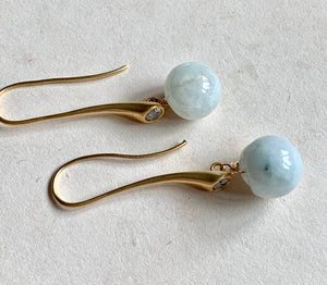 Modern Long Jade Dangle Earrings