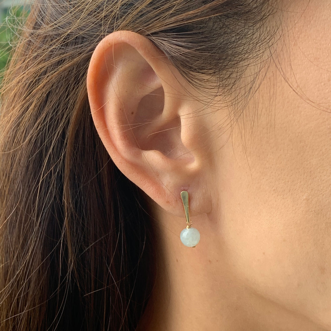 Modern Petite Bar and Jade Earrings
