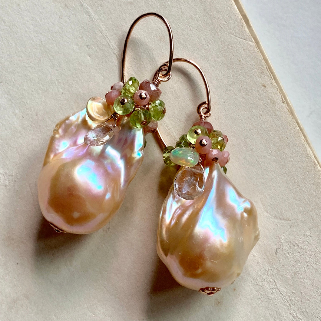 Peach Caramel- AAA Peach Baroque Pearls 14k Rose Gold Filled