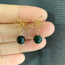 Load image into Gallery viewer, Wire Flowers & Dark Green Jade Studs