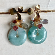 Load image into Gallery viewer, Dreams- Type A Jade and Gemstones Earrings