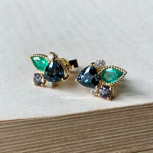 Spinel, Emerald Gem Cluster Detachable Earrings 18k Yellow Gold