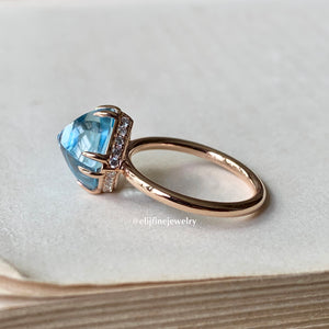 Sky Blue Topaz Sugarloaf 18k Ring