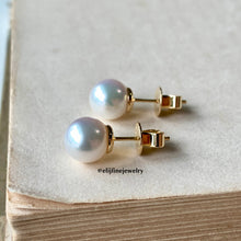 Load image into Gallery viewer, Pure White Akoya Pearl (Top Quality) Earring Studs 18k Gold