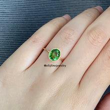Load image into Gallery viewer, Green Tourmaline Dainty 14k Gold Ring