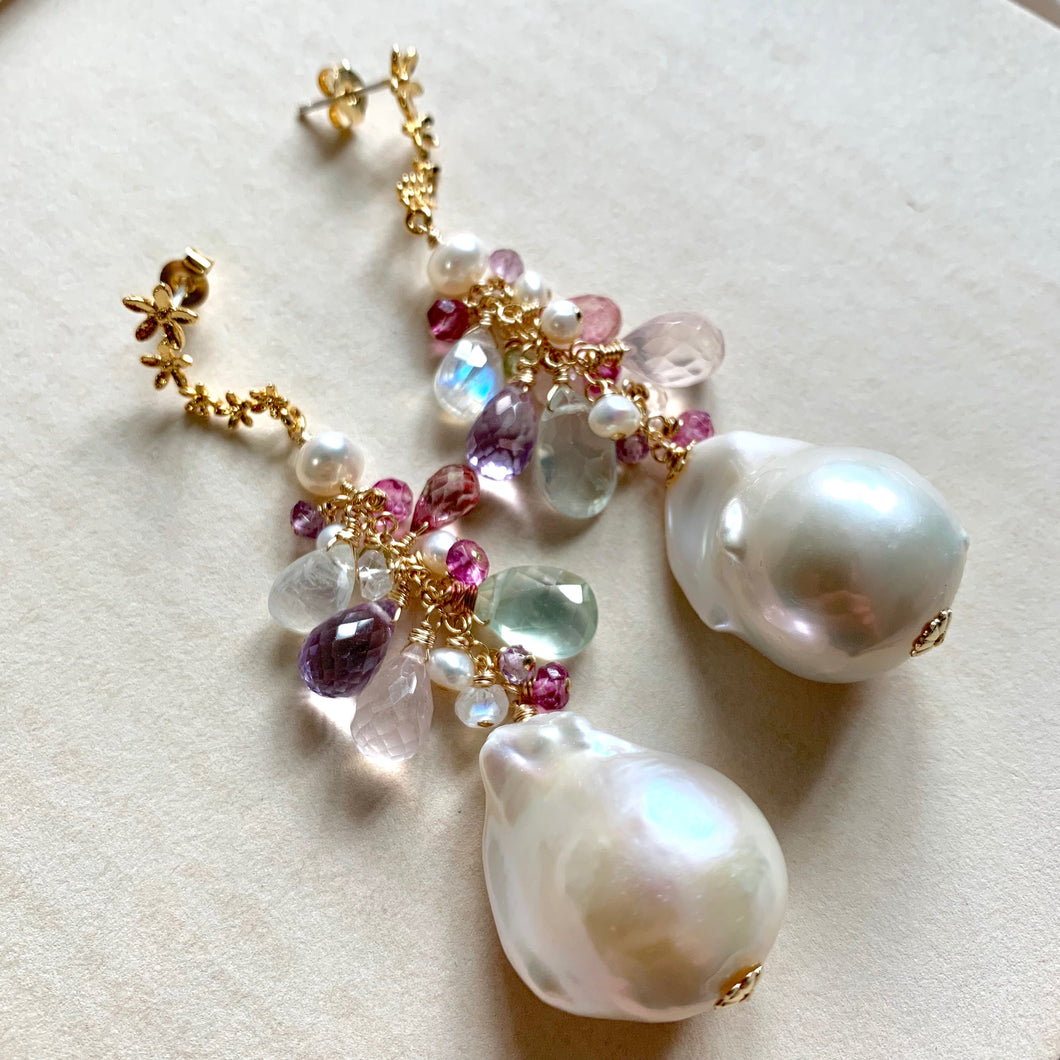 Baroque Pearls and Gemstones Statement Earrings