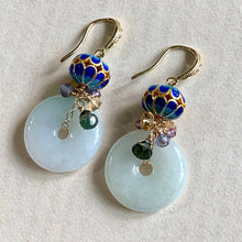 Load image into Gallery viewer, Royal Consort- Cloisonne, Gemstones & Jade Donuts Gold Earrings