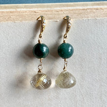Load image into Gallery viewer, Jade & Golden Rutile Gold Earrings