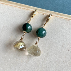 Jade & Golden Rutile Gold Earrings